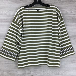 J. Crew Green Striped Tee